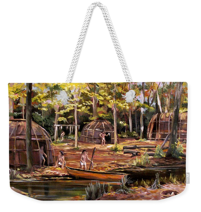 Institute Of American Indian Weekender Tote Bag featuring the painting The Pequots by Nancy Griswold