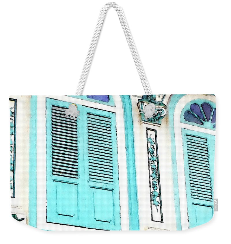 Malaysia Weekender Tote Bag featuring the mixed media The Peranakan Building by Stacey Chiew