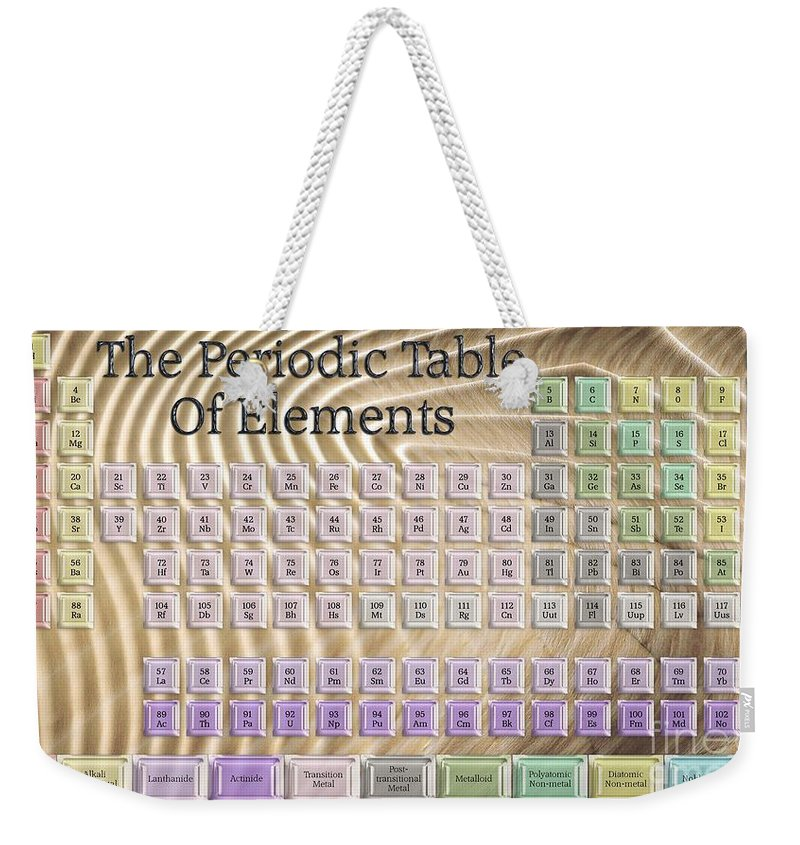 Wendy Weekender Tote Bag featuring the digital art The Periodic Table Of Elements 1 by Wendy Wilton
