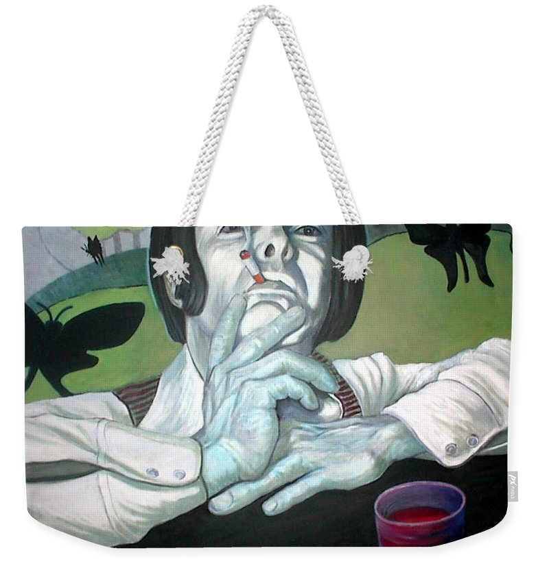 Large Painting In Oils. Muted Colors. Weekender Tote Bag featuring the painting The Peter Max Generation. by John Gabb