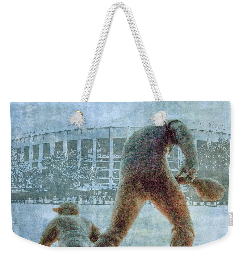 Phillies Weekender Tote Bag featuring the photograph The Phillies At Veterans Stadium by Bill Cannon