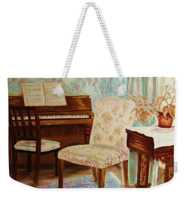 Iimpressionism Weekender Tote Bag featuring the painting The Piano Room by Carole Spandau