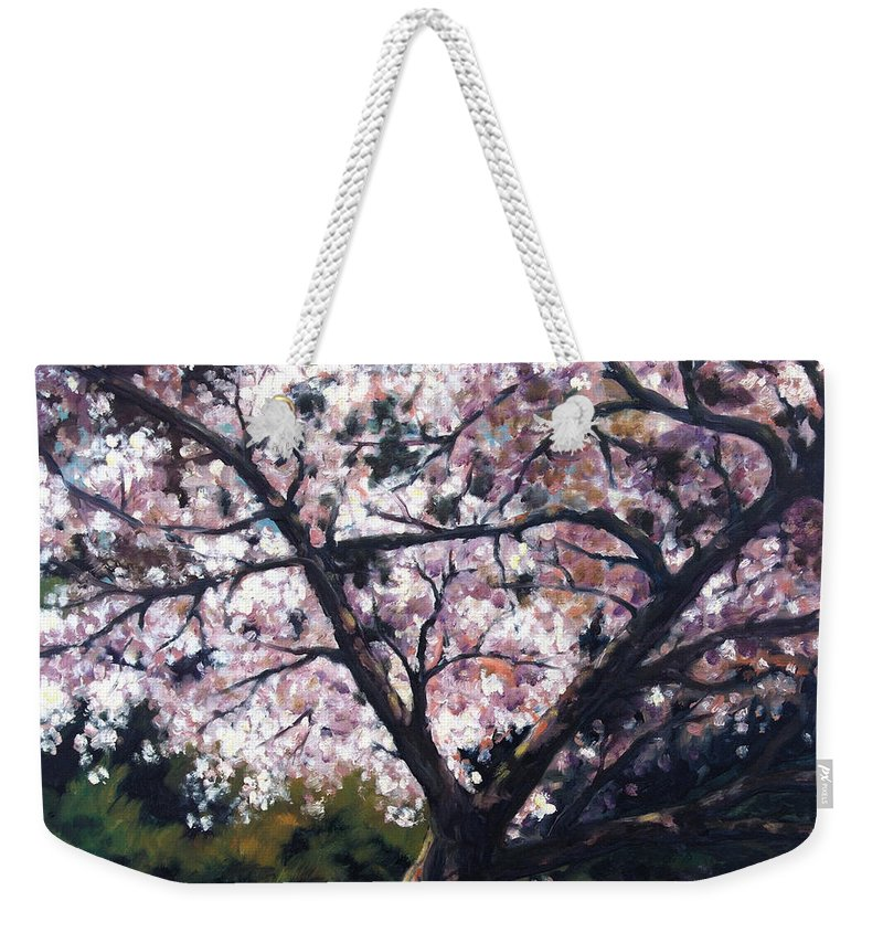 Spring Weekender Tote Bag featuring the painting The Picnic Table by Rick Nederlof