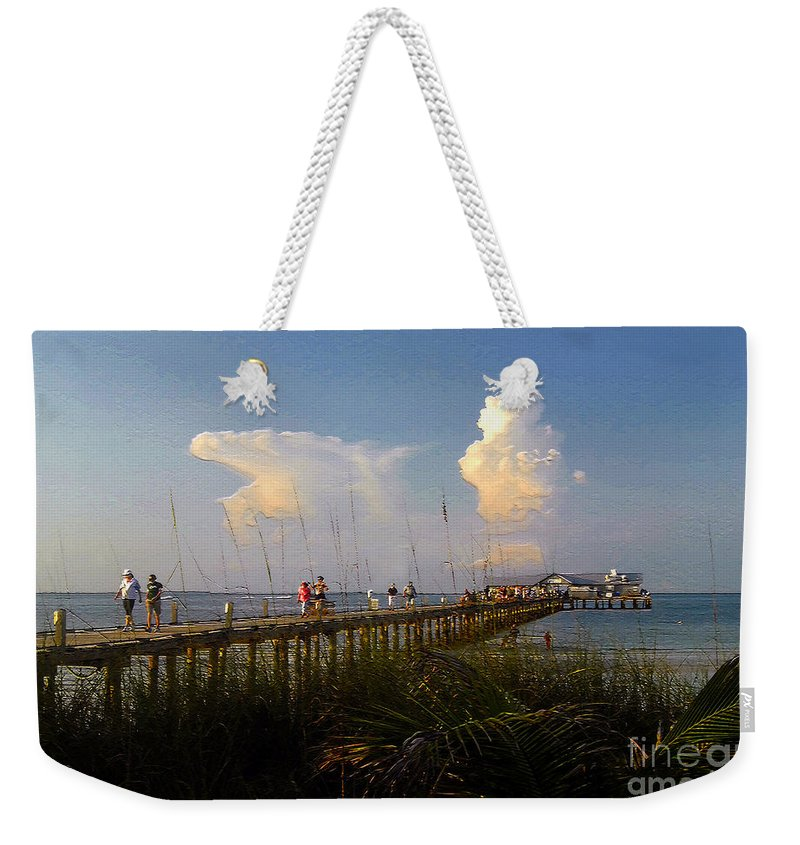 Pier Weekender Tote Bag featuring the photograph The Pier On Anna Maria Island by David Lee Thompson
