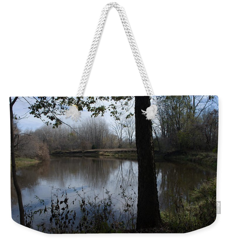 Pine River Weekender Tote Bag featuring the photograph The Pine River by Linda Kerkau