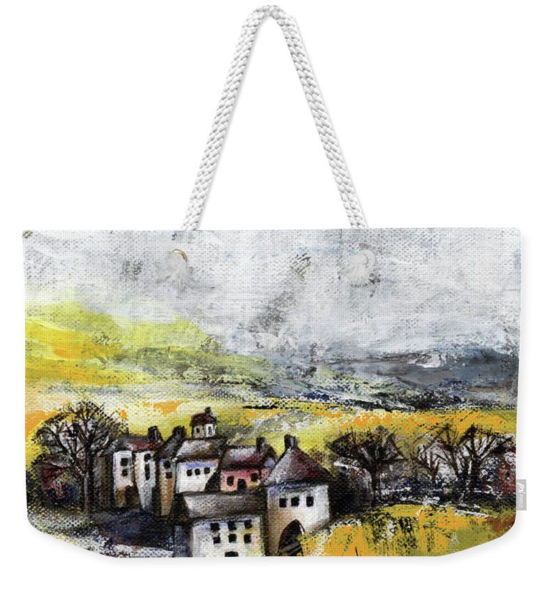 Landscape Weekender Tote Bag featuring the painting The Pink House by Aniko Hencz