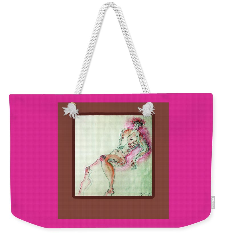 Watercolor Weekender Tote Bag featuring the mixed media The Pink Man by Clarissa Talve