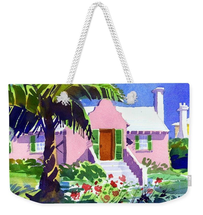 Bermuda Weekender Tote Bag featuring the painting The Pink Palace by Lee Klingenberg
