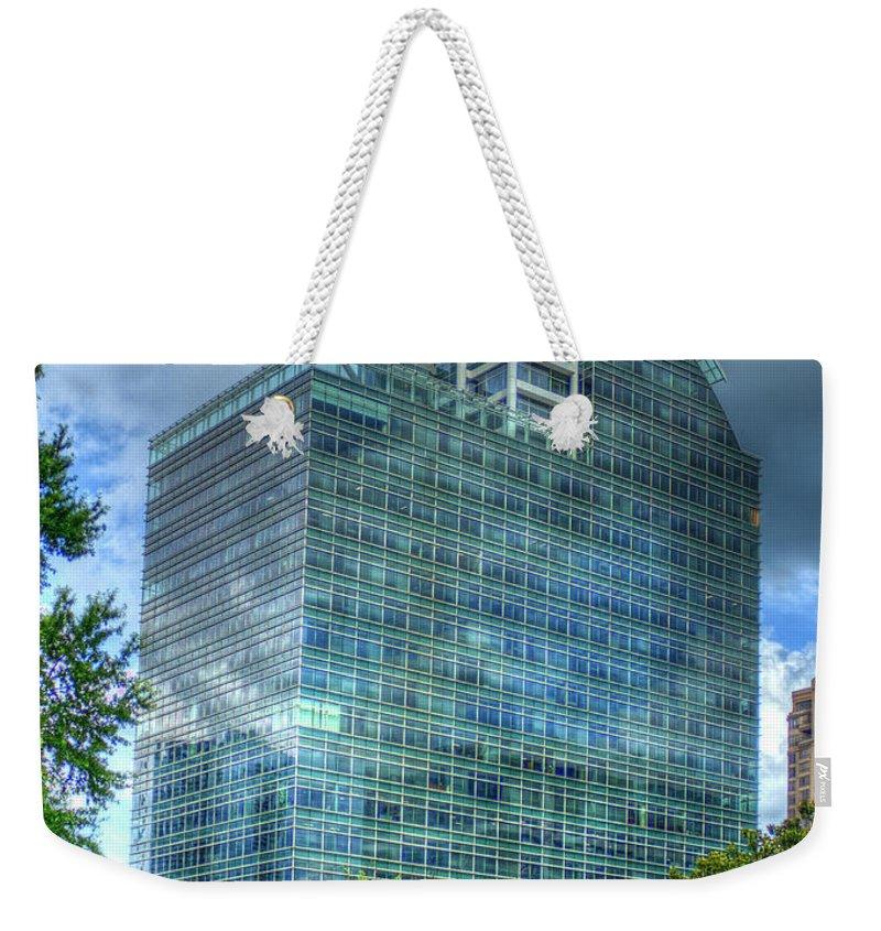 Reid Callaway The Pinnacle Images Weekender Tote Bag featuring the photograph The Pinnacle Reflections Office Buildings Buckhead Atlanta Art by Reid Callaway