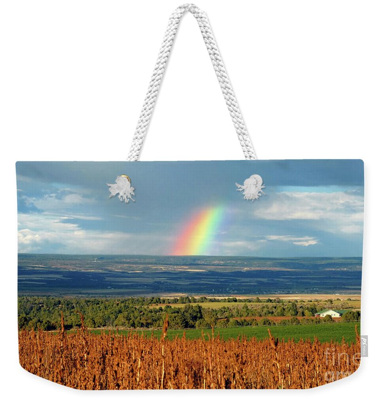 Pleasant View Colorado Weekender Tote Bag featuring the photograph The Pleasant View Rainbow by David Lee Thompson