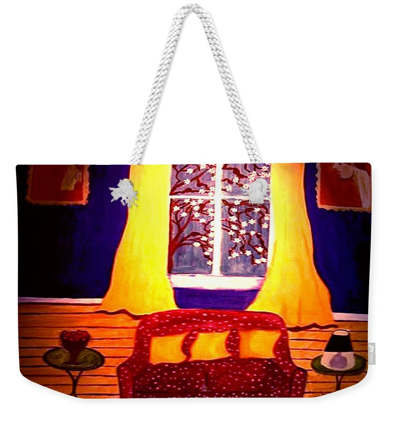 Still Life Weekender Tote Bag featuring the painting The Polka Dot Sofa by Rusty Gladdish