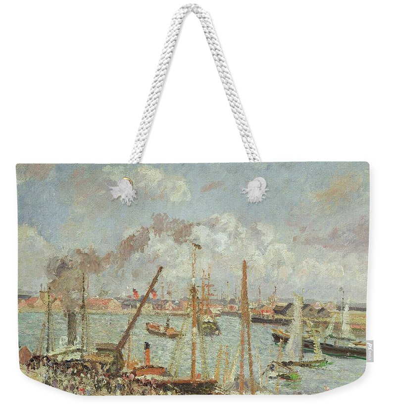 The Weekender Tote Bag featuring the painting The Port Of Le Havre In The Afternoon Sun by Camille Pissarro