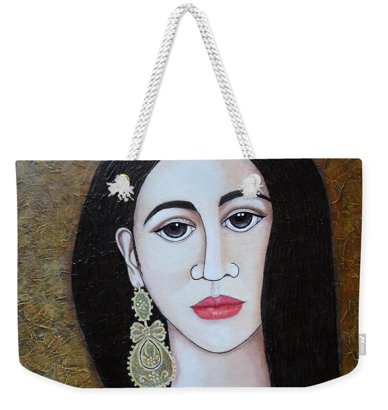 Woman Weekender Tote Bag featuring the painting The Portuguese Earring 2 by Madalena Lobao-Tello