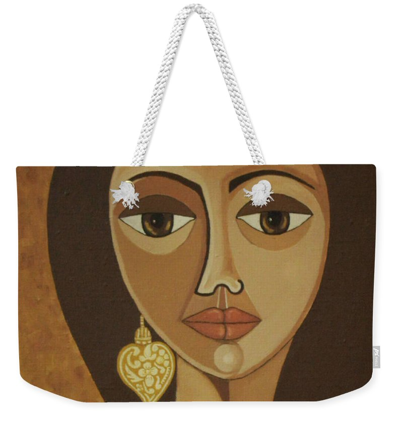 Portuguese Weekender Tote Bag featuring the painting The Portuguese Earring by Madalena Lobao-Tello