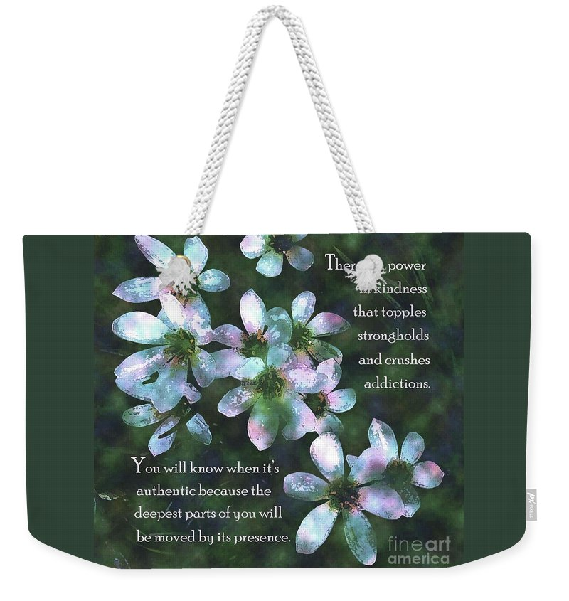 Pink Weekender Tote Bag featuring the painting The Power In Kindness by Hazel Holland