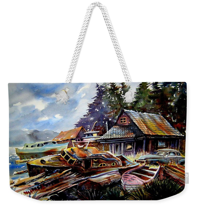 Boats Weekender Tote Bag featuring the painting The Preserve Of Captain Flood by Ron Morrison