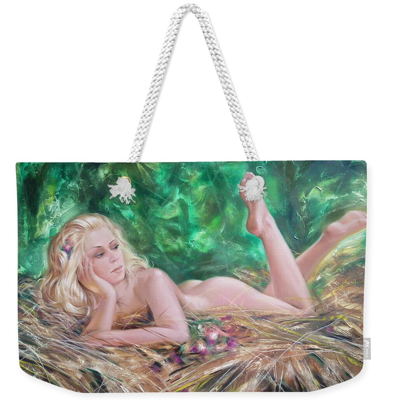 Ignatenko Weekender Tote Bag featuring the painting The Pretty Summer by Sergey Ignatenko