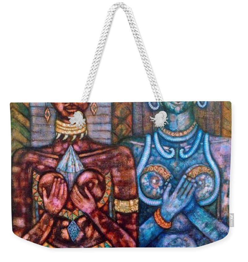 Priestesses Weekender Tote Bag featuring the painting The Priestess Of The Occult by Madalena Lobao-Tello