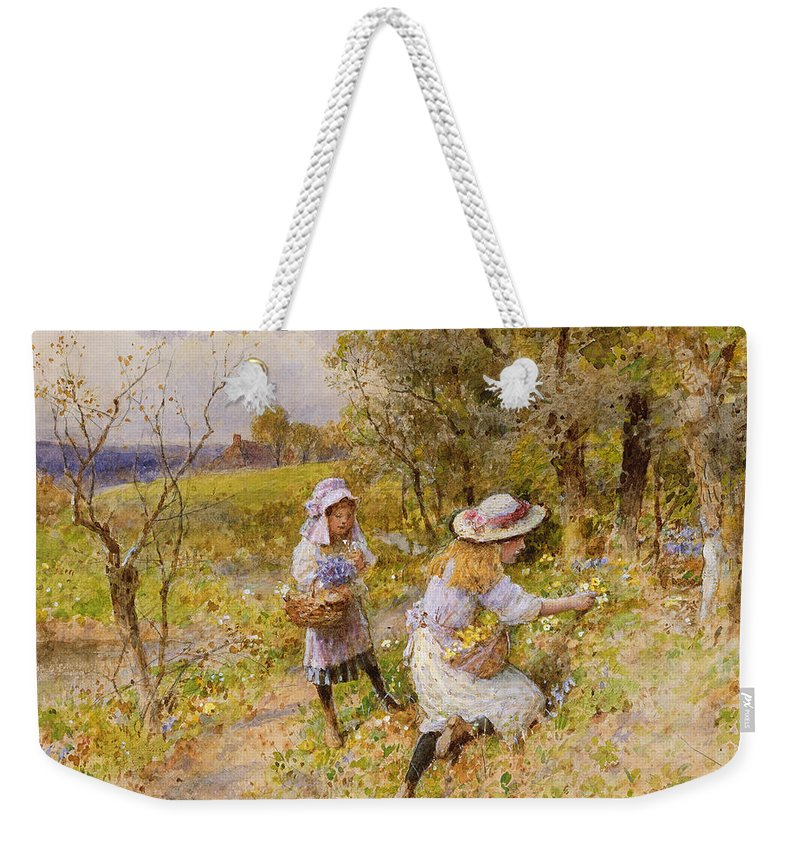 The Weekender Tote Bag featuring the painting The Primrose Gatherers by William Stephen Coleman