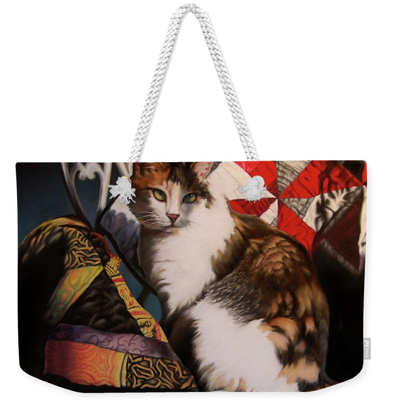 Cat Weekender Tote Bag featuring the pastel The Princess Throne by Timothy Loyd