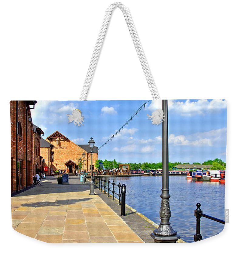 Grey Weekender Tote Bag featuring the photograph The Promenade At Barton Marina by Rod Johnson