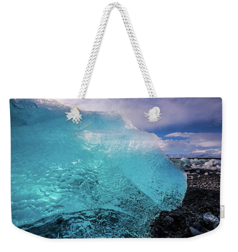 Glacier Weekender Tote Bag featuring the photograph The Pure Blue by Jean-Claude Ardila