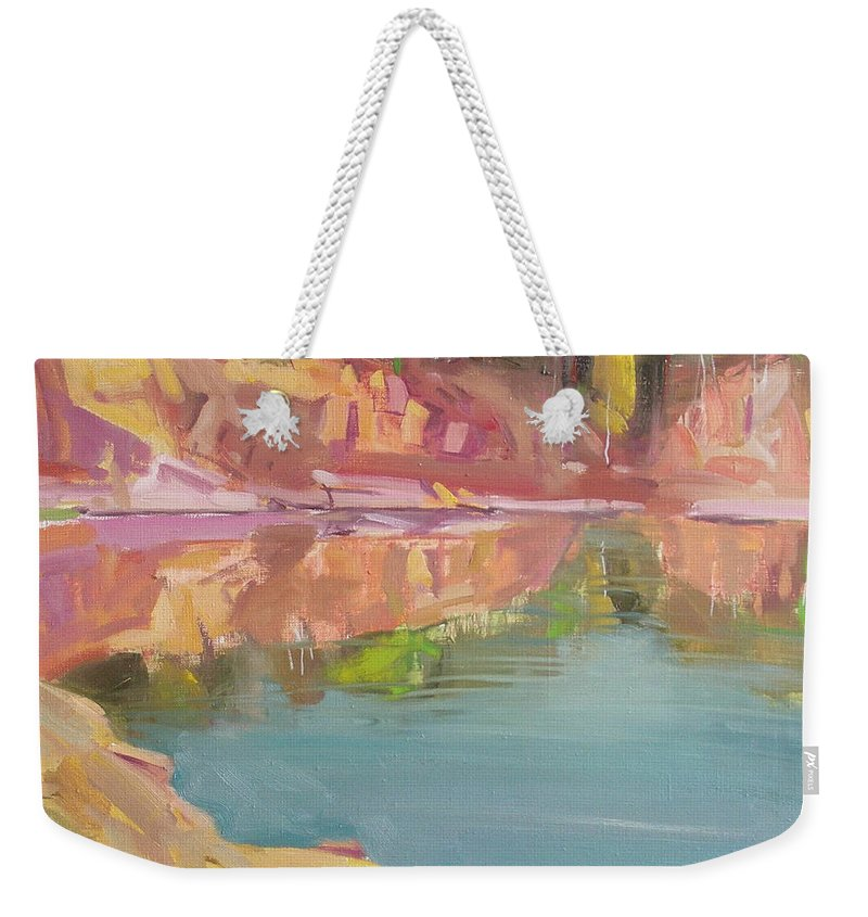 Oil Weekender Tote Bag featuring the painting The Quarry by Sergey Ignatenko