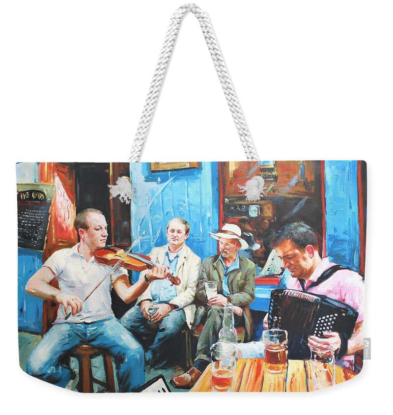 Streetscape Weekender Tote Bag featuring the painting The Quay Players by Conor McGuire