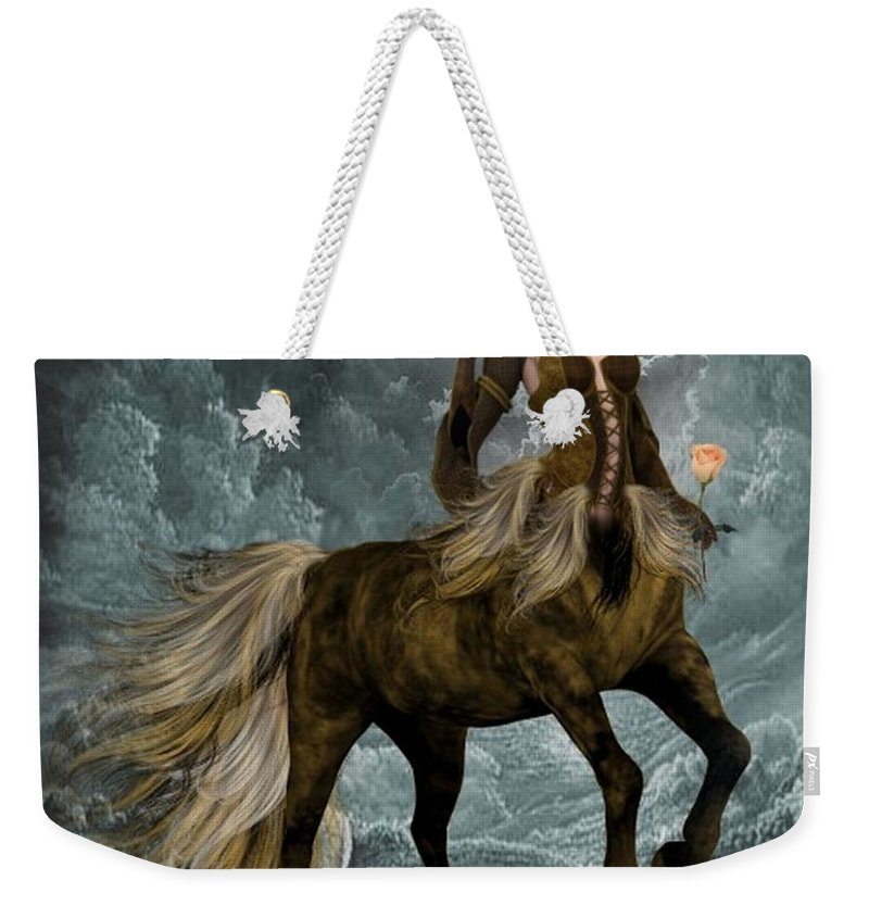 Weekender Tote Bag featuring the digital art The Queen Horse by Ali Oppy