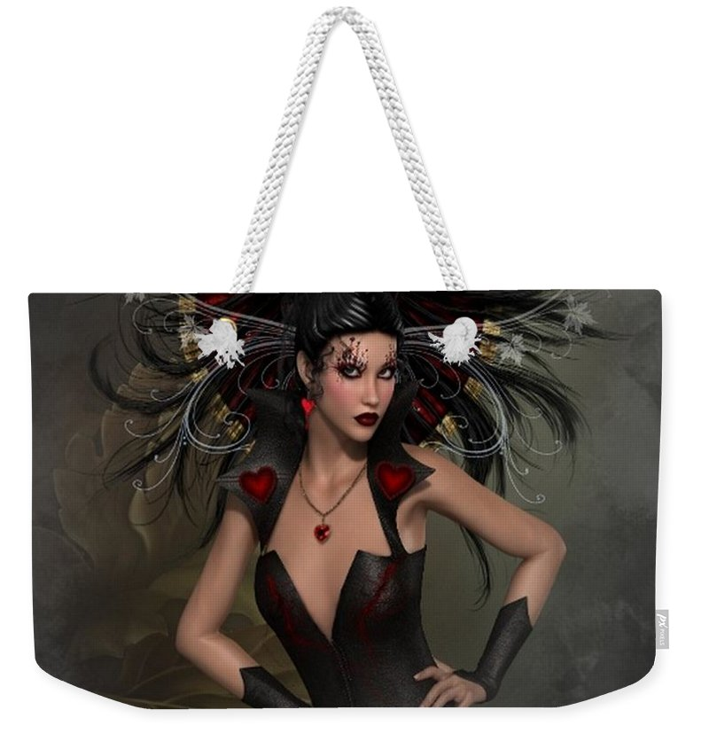 Mystic Weekender Tote Bag featuring the digital art The Queen Of Hearts by Ali Oppy