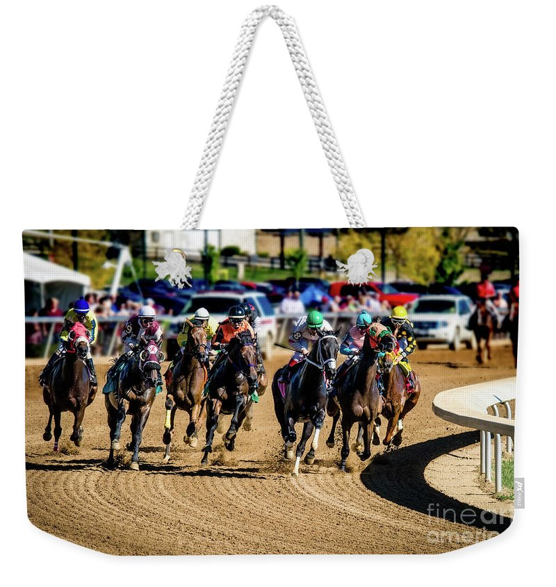 Belterra Horse Park Racing Weekender Tote Bag featuring the photograph The Race by Ed Taylor