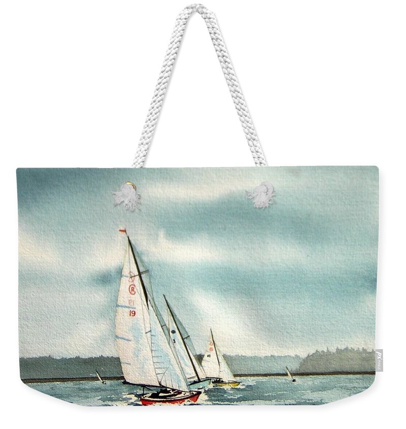 Sailing Weekender Tote Bag featuring the painting The Race by Gale Cochran-Smith