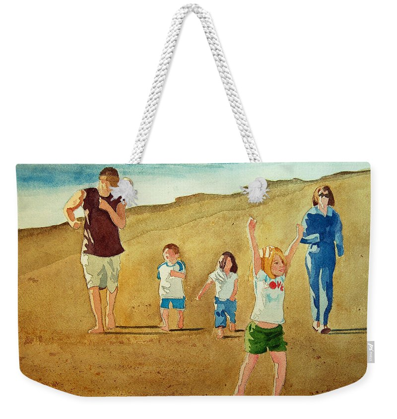 Beach Weekender Tote Bag featuring the painting The Race by Terry Holliday