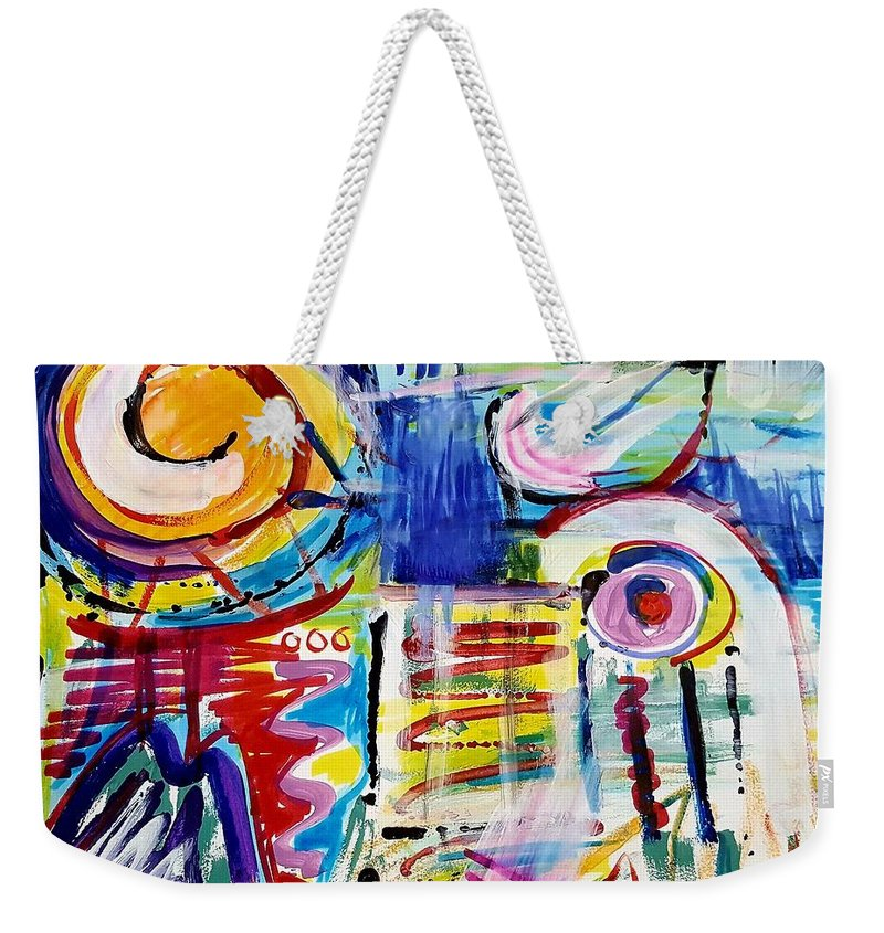 Abstract Art Weekender Tote Bag featuring the mixed media The Radio's On by Jane Renzi