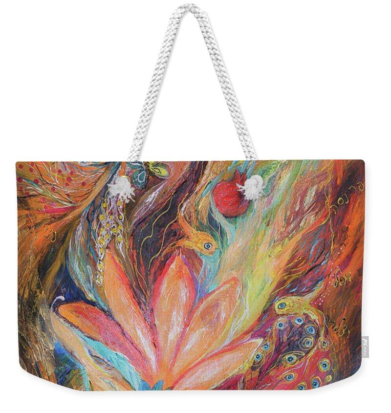Original Weekender Tote Bag featuring the painting The Rainbow's Daughter by Elena Kotliarker