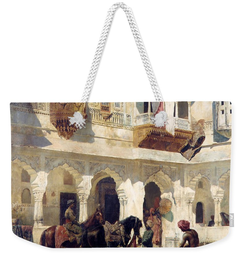 Edwin Lord Weeks Weekender Tote Bag featuring the painting The Rajah Starting On A Hunt by Edwin Lord Weeks