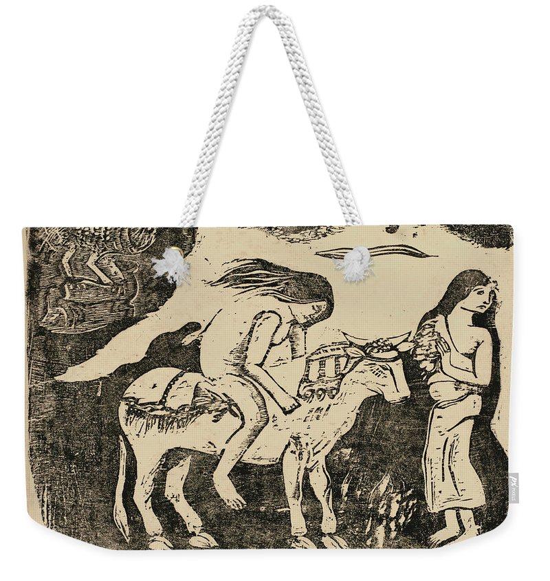 Paul Gauguin Weekender Tote Bag featuring the drawing The Rape Of Europa by Paul Gauguin
