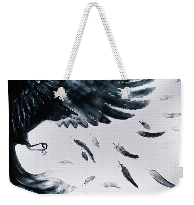 8b0cf21315 Russian Artists New Wave Weekender Tote Bag featuring the painting The Raven  by Elena Vedernikova