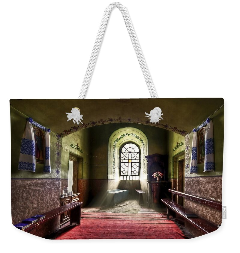 Church Weekender Tote Bag featuring the photograph The Reading Room by Evelina Kremsdorf