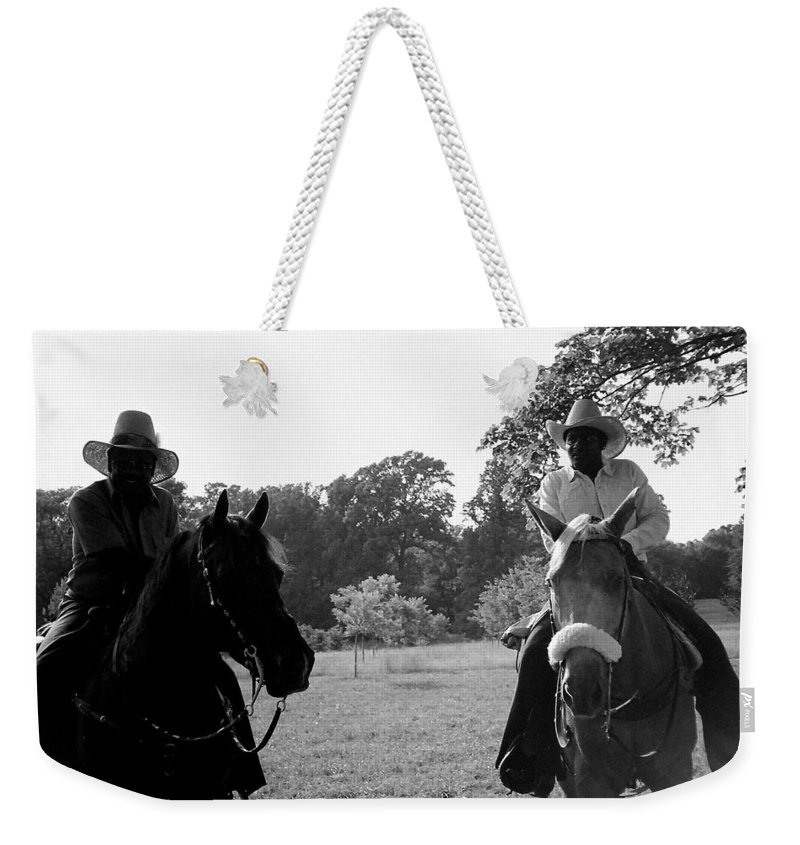 Men Weekender Tote Bag featuring the photograph The Real Cowboys by Deborah Crew-Johnson