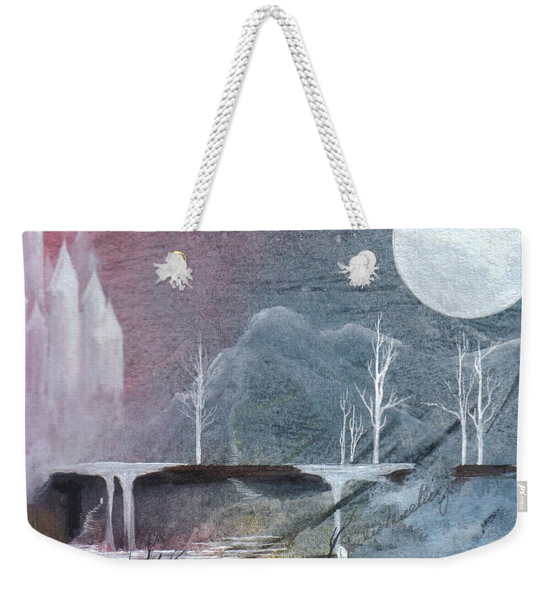 Castle Weekender Tote Bag featuring the painting The Realm Of Queen Astrid by Jackie Mueller-Jones