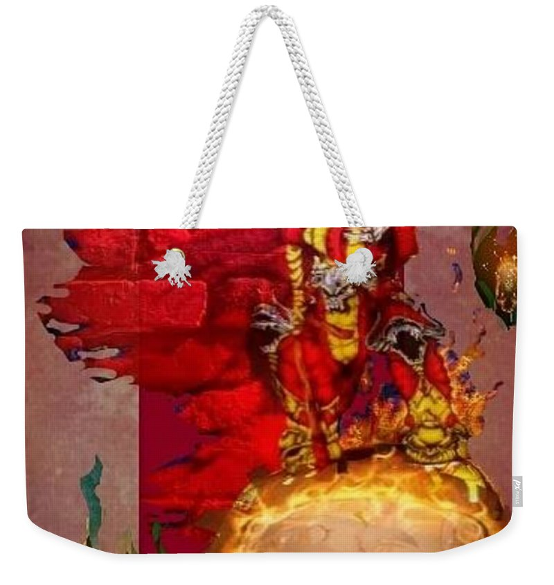 Fantasy Landscape Weekender Tote Bag featuring the drawing The Reaper by Louis Williams