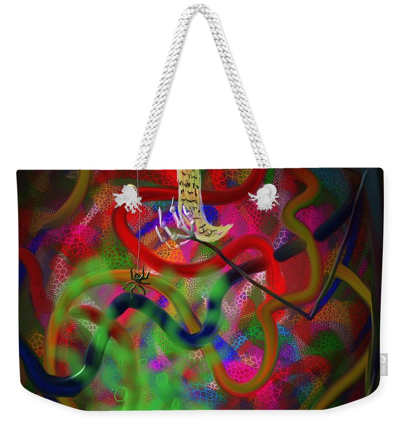 Spider Weekender Tote Bag featuring the painting The Recipe by Kevin Caudill