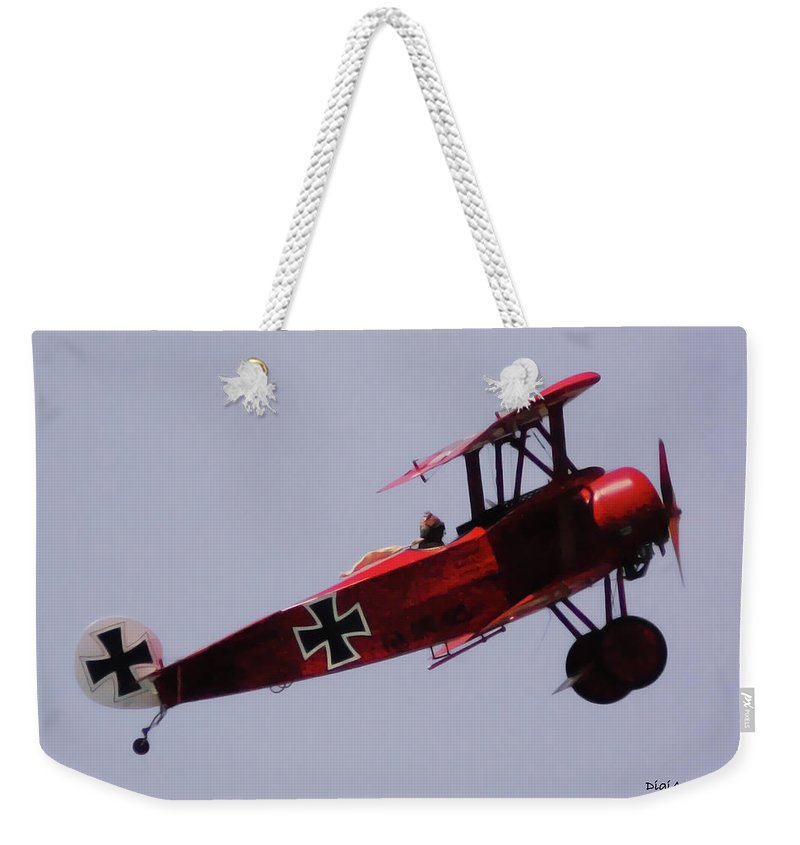 Triplane Weekender Tote Bag featuring the digital art The Red Baron by DigiArt Diaries by Vicky B Fuller