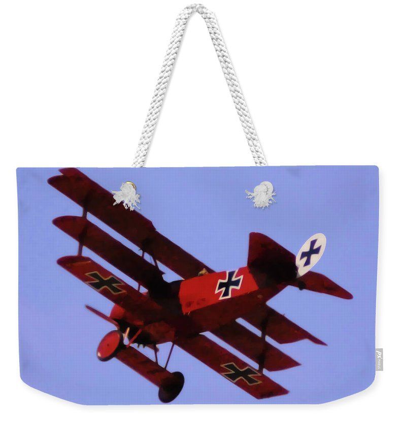 Triplane Weekender Tote Bag featuring the digital art The Red Baron II by DigiArt Diaries by Vicky B Fuller