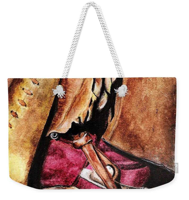 Western Boots Weekender Tote Bag featuring the painting The Red Boot by Frances Marino