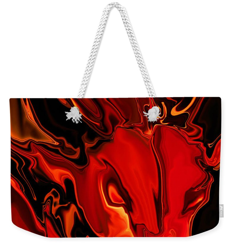 Animals Weekender Tote Bag featuring the digital art The Red Bull by Rabi Khan