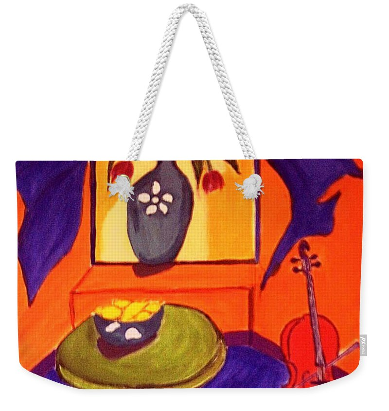 Cello Weekender Tote Bag featuring the painting The Red Cello by Rusty Gladdish