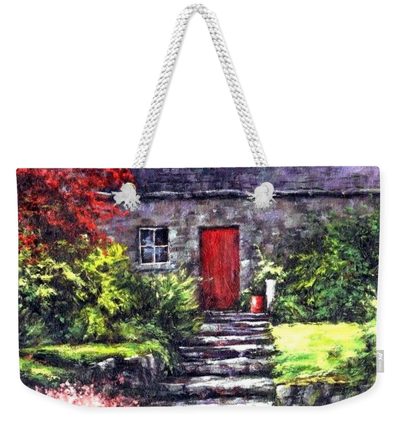 Ireland Weekender Tote Bag featuring the painting The Red Door by Jim Gola