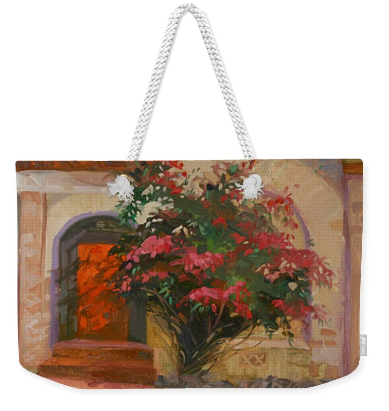 Catalina Island Ca Weekender Tote Bag featuring the painting The Red Door - Catalina Island by Betty Jean Billups
